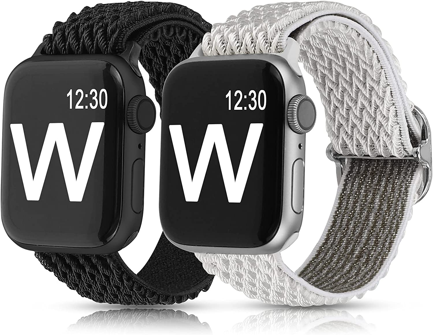 Glebo 2 Packs Compatible with Apple Watch Band Stretchy 38mm 40mm 42mm 44mm for Women Men, Adjustable Sport Elastic Solo Loop Strap Soft Nylon Wristband for iWatch Series SE 6 5 4 3 2 1