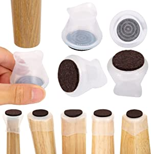 32PCS Upgraded Chair Leg Protectors for Hardwood Floors, Silicone Chair Leg Floor Protectors, Fully Transparent Furniture Protection Cover Prevents Scratches and Noise