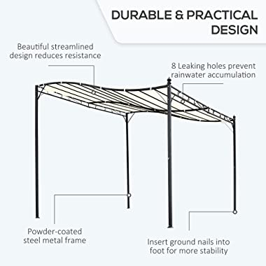 Outsunny 10' x 10' Steel Outdoor Pergola Gazebo Patio Canopy with Durable & Spacious Weather-Resistant Design, Wh