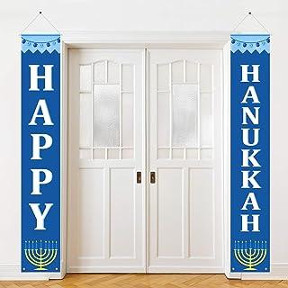 Best Hanukkah Banner Happy Hanukkah Porch Sign Hanukkah Decorations for Home Door Birthday Party Yard Outdoor Review