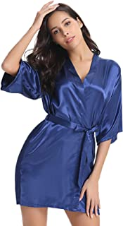 Women's Kimono Robes Short Satin Pure Color Bridal Party Robe with Oblique V-Neck
