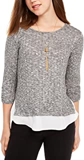 A. Byer Women's Cinched Sleeve Top with Hangdown