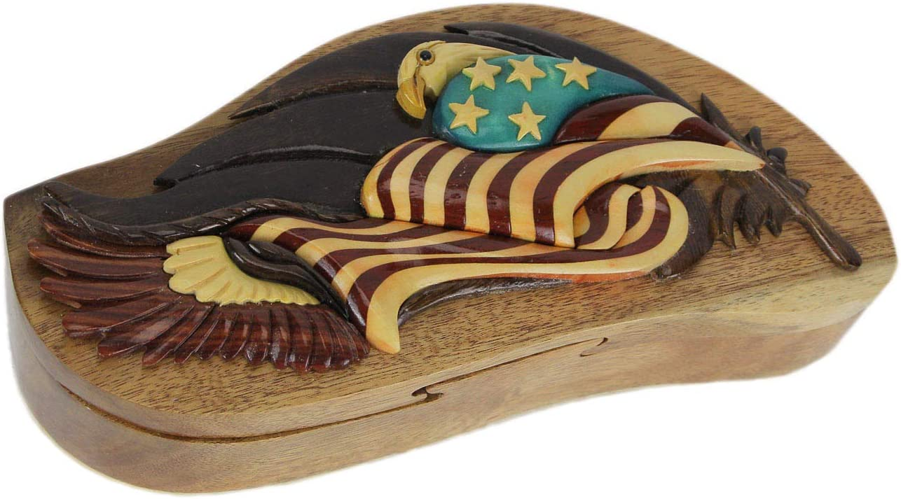 Hand Carved Wood 3D American Quantity limited Cheap mail order specialty store Eagle Trinket and Box Flag Puzzle