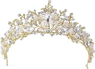 Santfe Bridal Rhinestone Crystal Tiara Crown Hairband Headband Wedding Prom Hair Jewelry for Womens Girls (Gold-1)