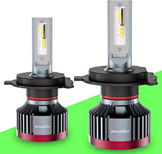 DriveVision H4 / 9003 / HB2 LED Headlight Bulb Conversion Kit, 6000 Lumens 6000K Xenon-White, Dual-Beam (hi/Low) Superbright DX3000 Series – 2 Year Warranty