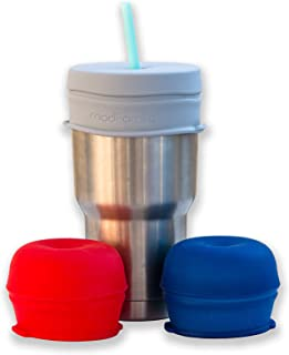 O-Sip! Silicone Straw Lids- XL Size (Pk of 3), Stretches to Cover Tumblers, Large Cups and Mugs, Yeti Rambler, Mason Jars; Spill Proof, Reusable, Durable, Replacement Lid Accessory (Red,Navy,Gray)