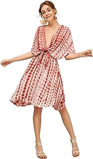 Women's Summer Deep V Neck Short Sleeve Knot Tie Dye A Line Flare Dress