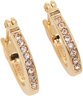 PAVE SIGNATURE HUGGIE EARRINGS - ROSE GOLD-