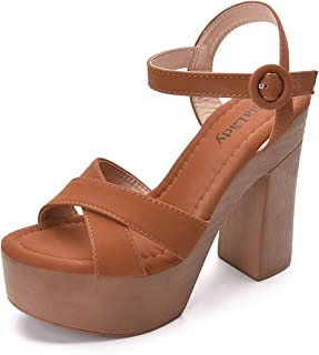 Retro Wooden Style Platform Ankle Strap Adjustable Buckle with Chunky Statement Sole Heeled Sandals for Women LALA