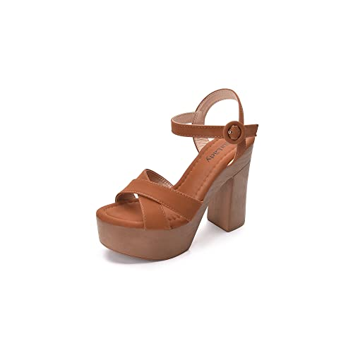 7001bbce095 Retro Wooden Style Platform Ankle Strap Adjustable Buckle with Chunky  Statement Sole Heeled Sandals for Women