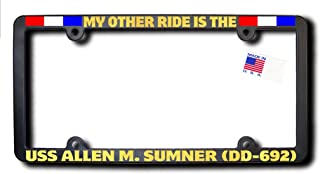 James E. Reid Design My Other Ride USS Allen M. Sumner (DD-692) License Frame w/Reflective Gold Text & Ribbons