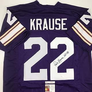 Autographed/Signed Paul Krause HOF 98 Minnesota Purple Football Jersey JSA COA