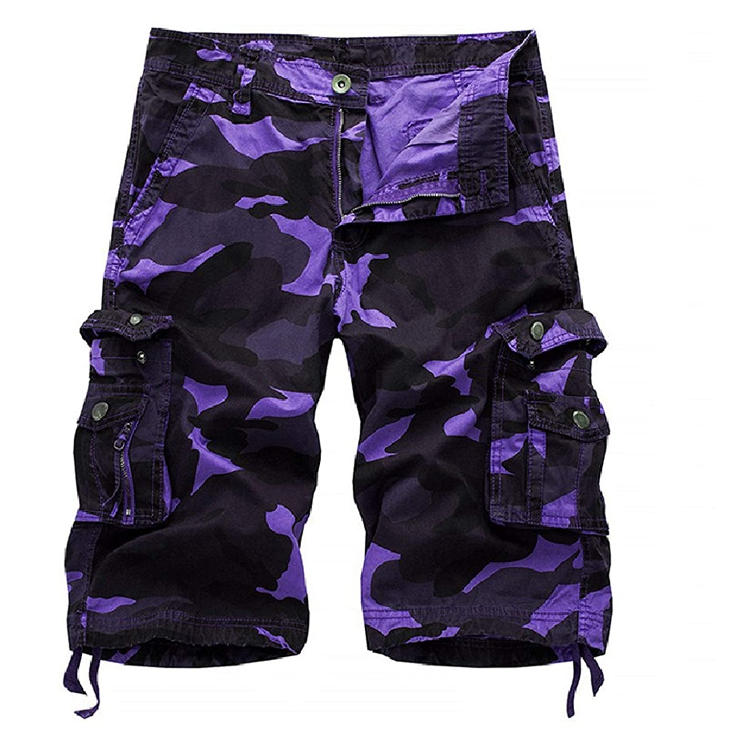 Mens Camo Cargo Shorts Relaxed Fit Multi-Pocket Outdoor Short Pants Camouflage Cargo Cotton Shorts (Purple,29)