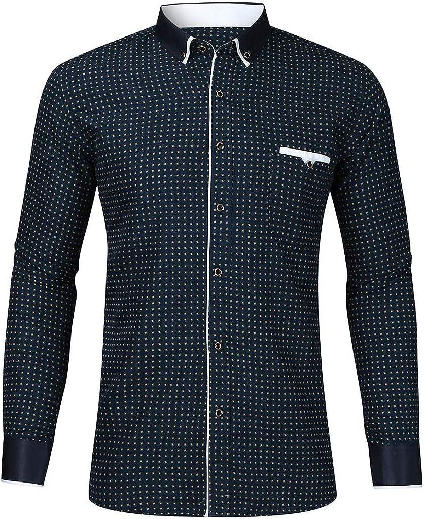 Men's Long Sleeve Regular Fit Dot Print Casual Button Down Dress Shirt Tops