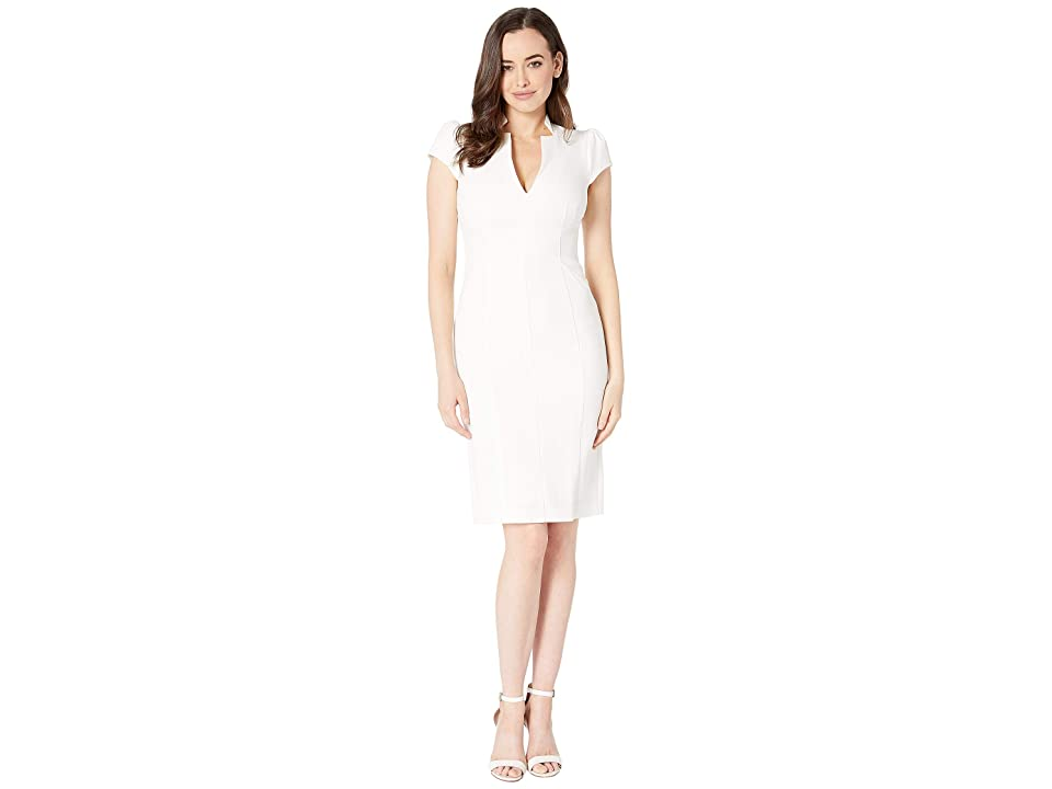 Vince Camuto Kors Crepe Cap Sleeve Bodycon Dress (Ivory) Women