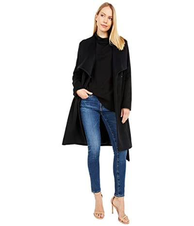 Cole Haan 39 Slick Wool Wrap Coat with Exaggerated Collar (Black) Women