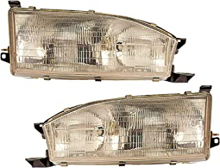 Headlight Replacement For Toyota Camry Driver Left and Passenger Right Pair Set 1992 1993 1994 Headlamp Assembly