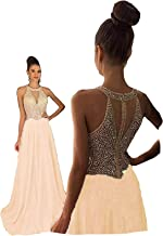 Fanciest Women's Crystal Beaded Prom Dresses 2019 Long Evening Gowns Formal