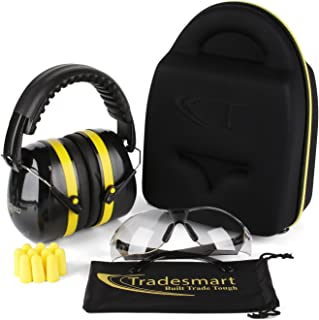 TRADESMART Shooting Ear Muffs, Protective Case, Gun Safety Glasses & Earplugs - UV400 Anti Fog & Anti Scratch with Microfiber Pouch   Gun Range Ear Protection & Eye Protection for Shooting