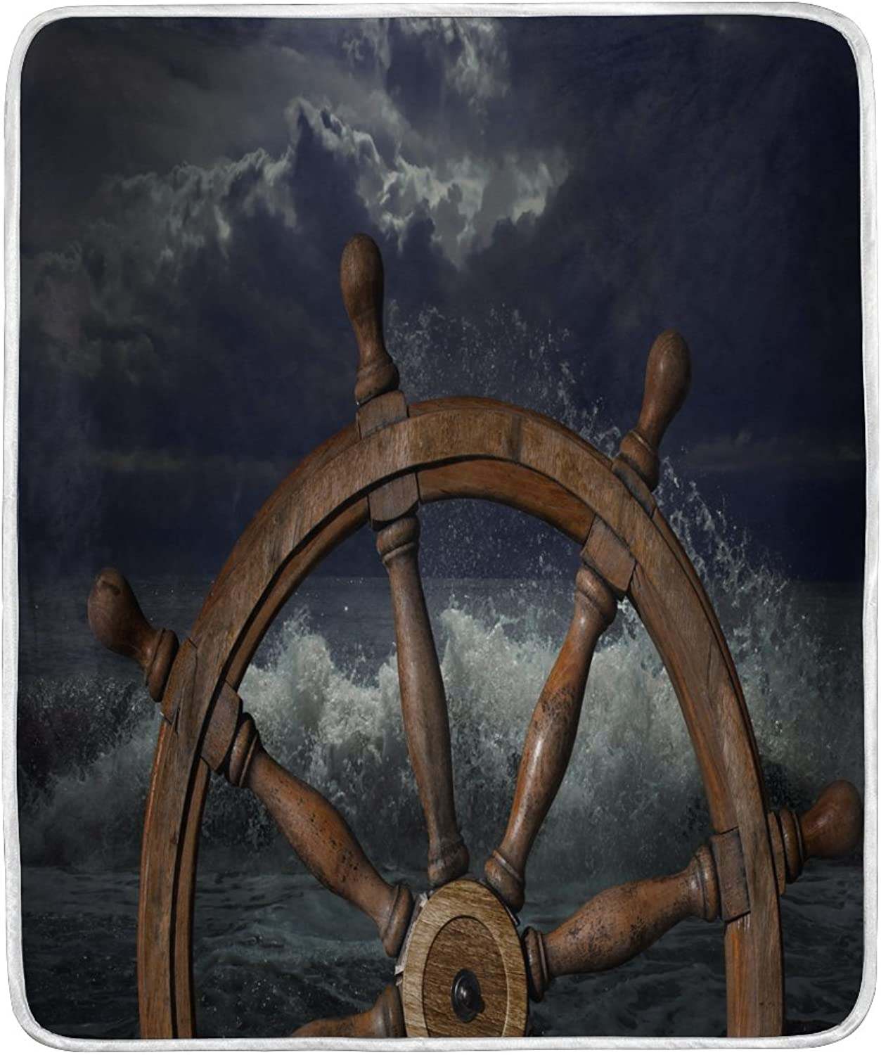 ALAZA Home Decor Tropical Ocean Sea Ship Wheel Blanket Soft Warm Blankets for Bed Couch Sofa Lightweight Travelling Camping 60 x 50 inch Throw Size for Kids Boys Women