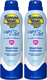 Banana Boat Light as Air Broad Spectrum Sunscreen Spray, 6 Ounce - Twin Pack