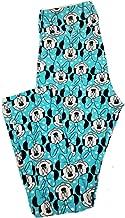 Lularoe Tall Curvy TC Disney Minnie Mouse Blue Black White Polka Dot Adult Leggings fits 12-18