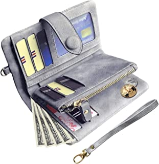 Womens Small Bifold Leather Wallets Rfid Ladies Wristlet with Card slots id window Zipper Coin Purse