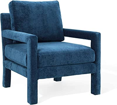 Modway Rehearse Crushed Performance Velvet Accent Armchair in Navy