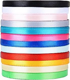 300yardas 274m Cinta de Raso Satén Seda Colores Mazcla 6mm para Embalaje Decoración de Regalo Cajas Flores Boda Navidad (12 Colores-6mm*270m(300 yardas))