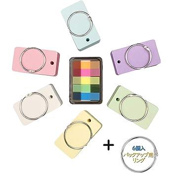 単語帳 暗記カード 単語カード 暗記帳 6冊x90枚 6色 7x4cm 付箋100枚×1冊 バックアップ用リング×6個 まとめてセット