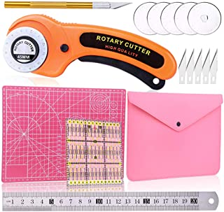 45 mm Rotary Cutter Set-Fabric Cutter with Storage Bag, A4 Self Healing Cutting Mat, Acrylic Ruler, 5 Pcs Replacement Blades and Craft Knife Ideal for Quilting, Crafting, Patchworking