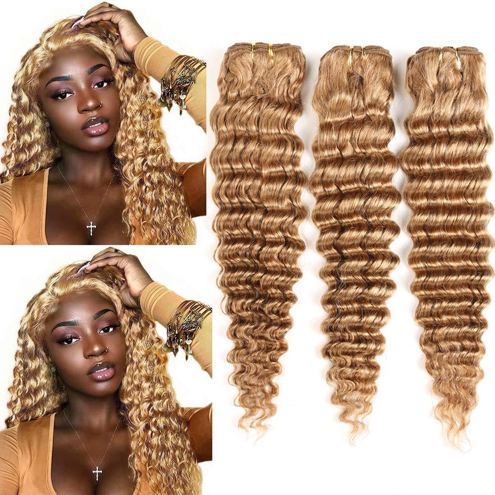 XCCOCO Blonde Deep Wave Bundles Bund Human 27# A surprise price is realized Chicago Mall Honey Hair