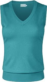 JSCEND Women's Solid Basic V-Neck Sleeveless Soft Stretch Pullover Sweater Vest Top