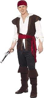 Smiffys Disfraz de pirata, negro, pañoleta, top, pantalones