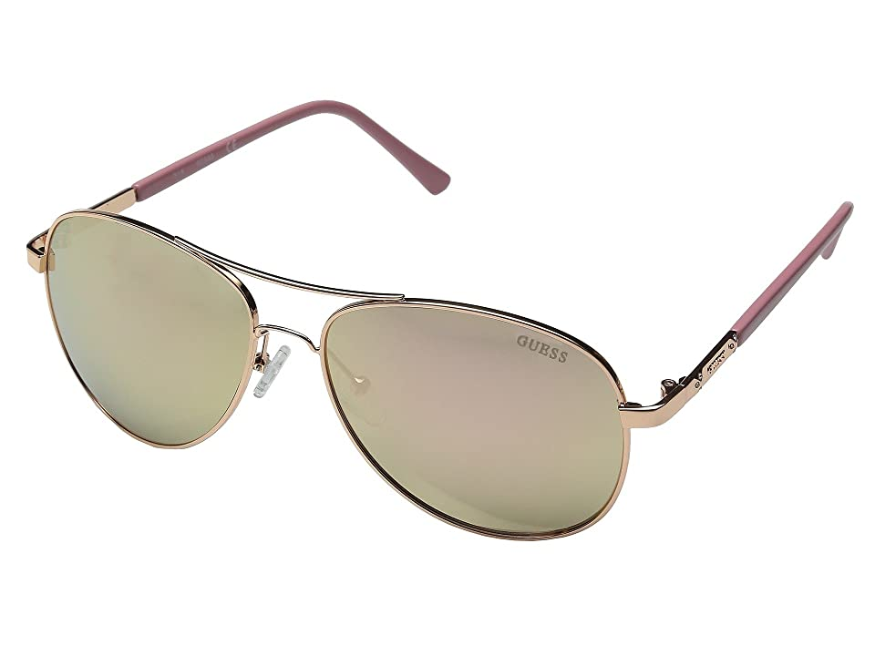 GUESS GF0295 (Rose Gold/Rose Gold Mirror Lens) Fashion Sunglasses, Beige