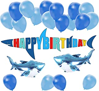 Shark Birthday Party Decoration Pack | Shark Zone Beach Sea Ocean Theme Bday Banner Balloon Set