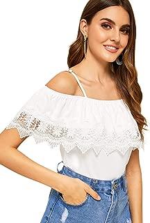 Women's Spaghetti Strap Cold Shoulder Tops Short Sleeve Lace Trim Shirt Blouse