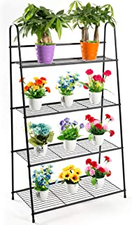 DOEWORKS 4 Tier Metal Plant Stand, Ladder-Shaped Storage Rack Stand Shelf,Shoe Organizer, Utility Storage for Indoor Outdoor Use, Black
