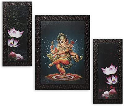 Indianara Set of 3 Lord Ganesha Paintings (2991) without glass 6 X 13, 10.2 X 13, 6 X 13 INCH