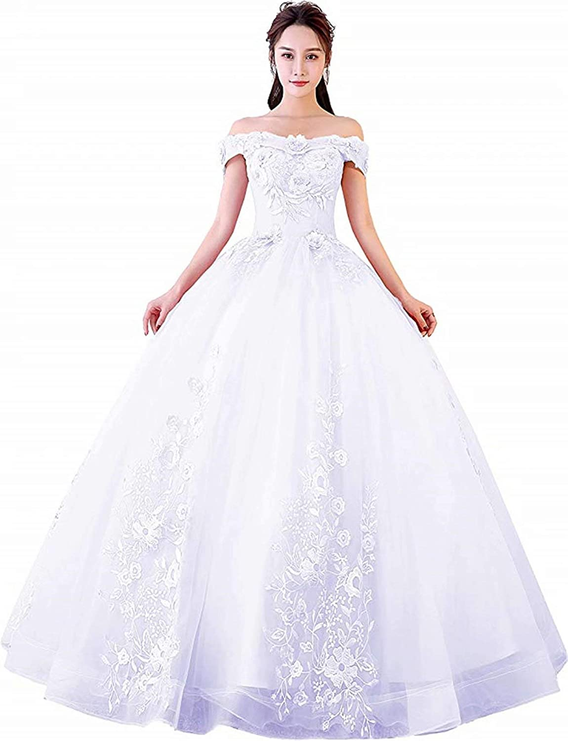 Honeywedding Women's Sweet 16 Quinceanera Dresses Off Shoulder Lace Tulle Long Prom Ball Gowns Plus Size
