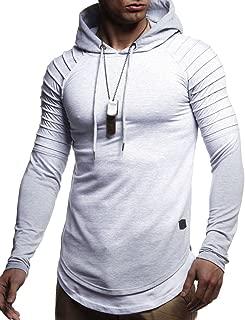 Leif Nelson Herren Kapuzenpullover Slim Fit Baumwolle-Anteil Moderner weißer Herren Hoodie-Sweatshirt-Pulli Langarm Herren schwarzer Pullover-Shirt mit Kapuze LN8155
