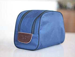 Mens Toiletry Travel Bag with Dual-Way Zippers Dopp Kit for Toiletries Water Proof Nylon Cosmetic Organizer Navy Shaving Pouch Case for Business Trip - Updated 2019