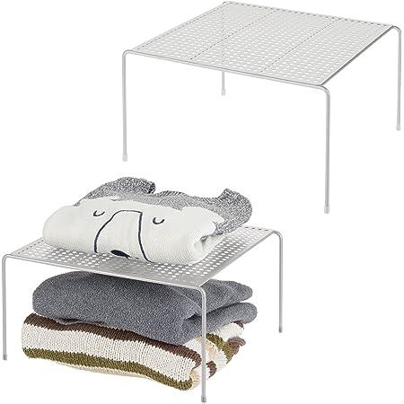 mDesign séparateur étagère pour garde-robe ou dressing (lot de 2) – organiseur d'armoire pratique en métal – aménageur de placard pour la chambre, la salle de bain ou la cuisine – gris clair