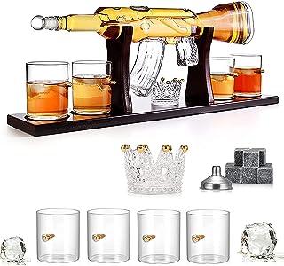 Whisky Ensemble De Carafe, 800ML Fusil Élégant Whisky Carafe Avec 4 Verres À Balle Et La Base De Pin, Haut Verre Blanc San...
