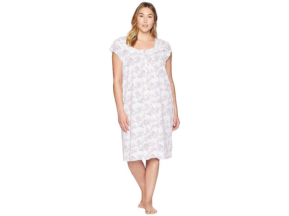 Eileen West Plus Size Waltz Nightgown (White/Floral) Women