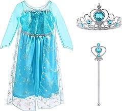 Vicloon Prinzessin Kostüm Mädchen, Eiskönigin ELSA Kleid Blau mit Diademe & Zauberstab, für Weihnachten Karneval Party Hal...