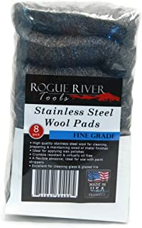 Stainless Steel Wool 8 Pad Pack (Fine) Oil Free Manufacturing - Made in USA!