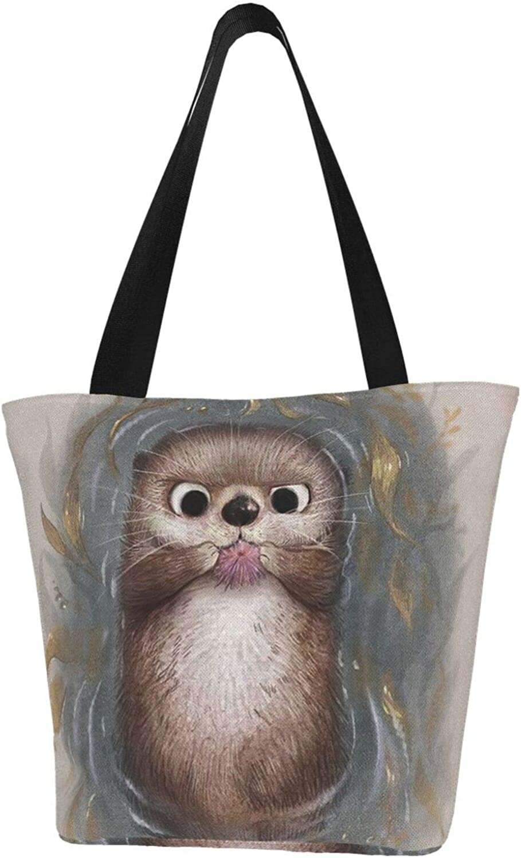 Cute Animal Baby Otter Funny Themed Printed Women Canvas Handbag Zipper Shoulder Bag Work Booksbag Tote Purse Leisure Hobo Bag For Shopping