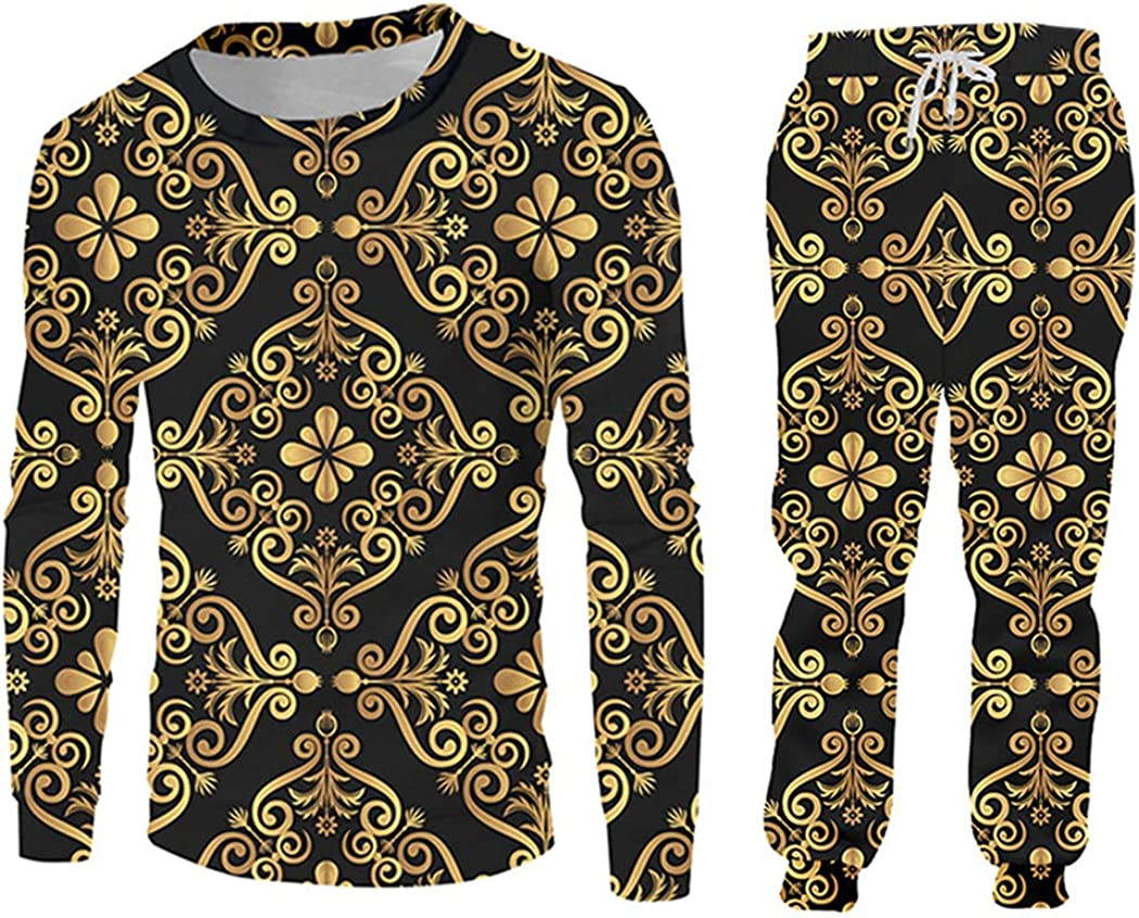 Royal Baroque Weekly update 3D Print Golden Flower Hoodies and Se Jogger Pants It is very popular