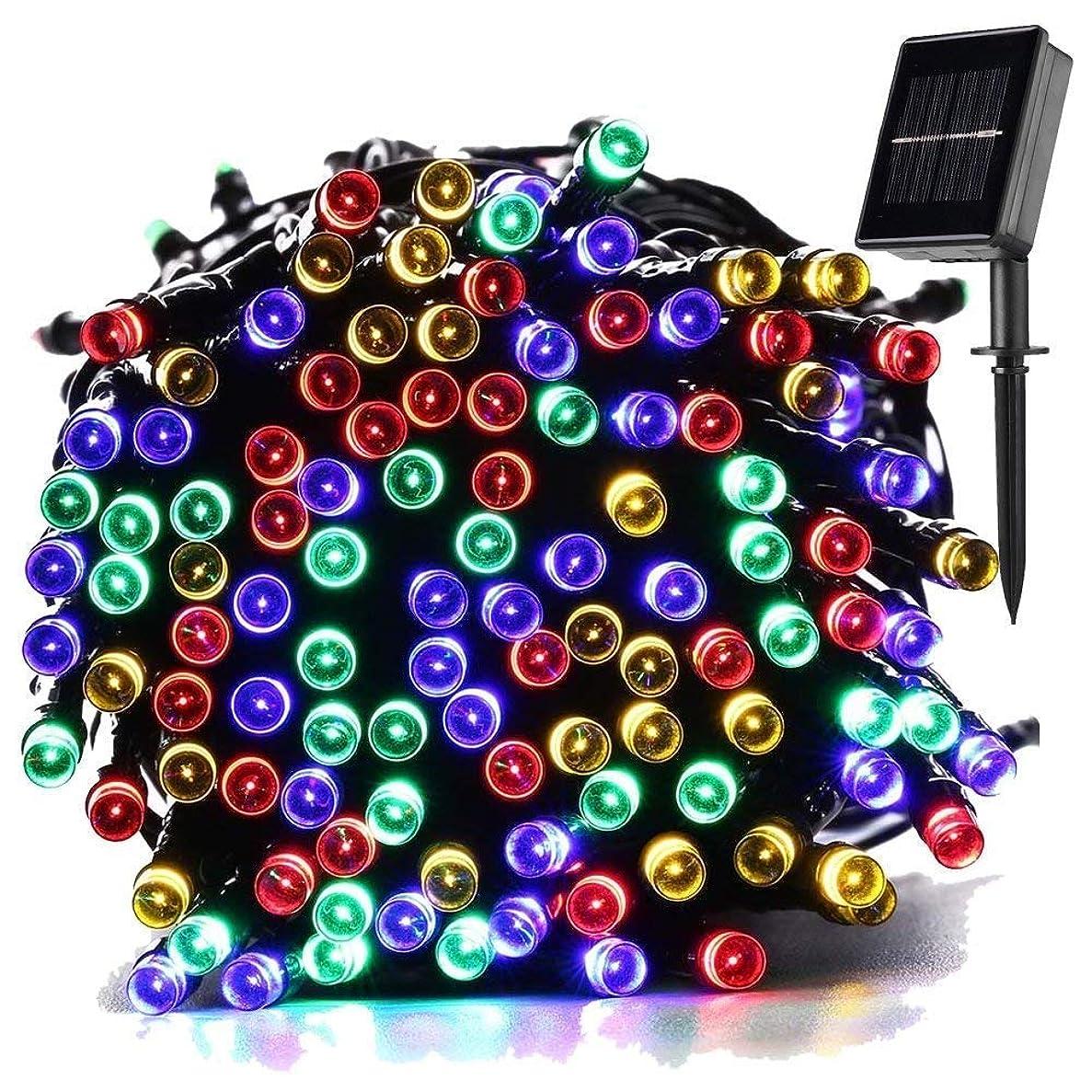 評判鷹面ソーラー イルミネーションライト 屋外 ストリングライト クリスマス ツリー led 飾り ライト アウトドア 防雨 ガーデン ハロウィン 22M 200球 自動点灯/消灯 学園祭 装飾 2点滅モデル 電球間隔10cm パーティー/アウトドア/結婚式/庭/部屋にも対応 マルチカラー